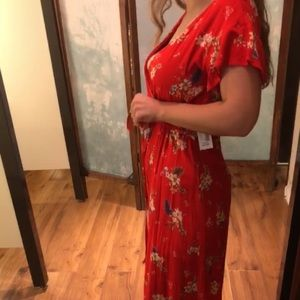 Red Floral Romper with Long Skirt attached to Back